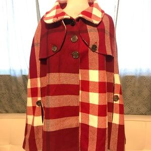 Burberry Poncho/Cape Red Plaided Coat